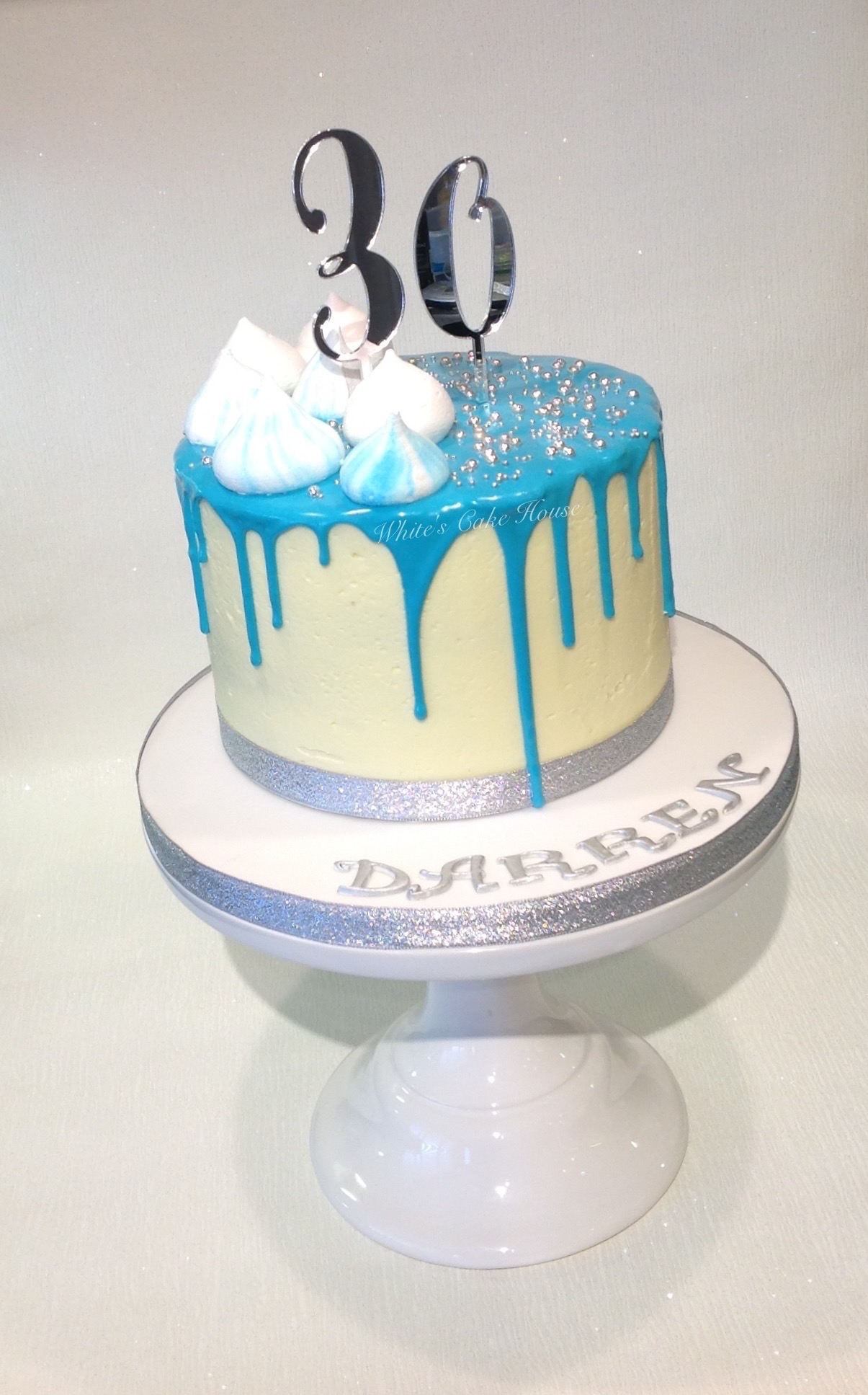 Blue Drip Birthday Cake