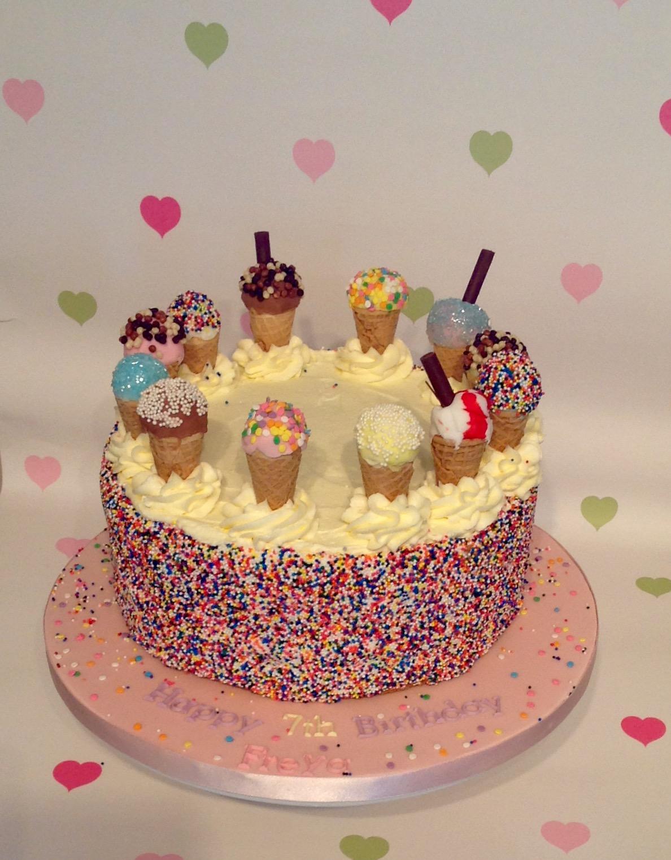 Ice Cream Themed Cake : Birthdays Girls White s Cake House
