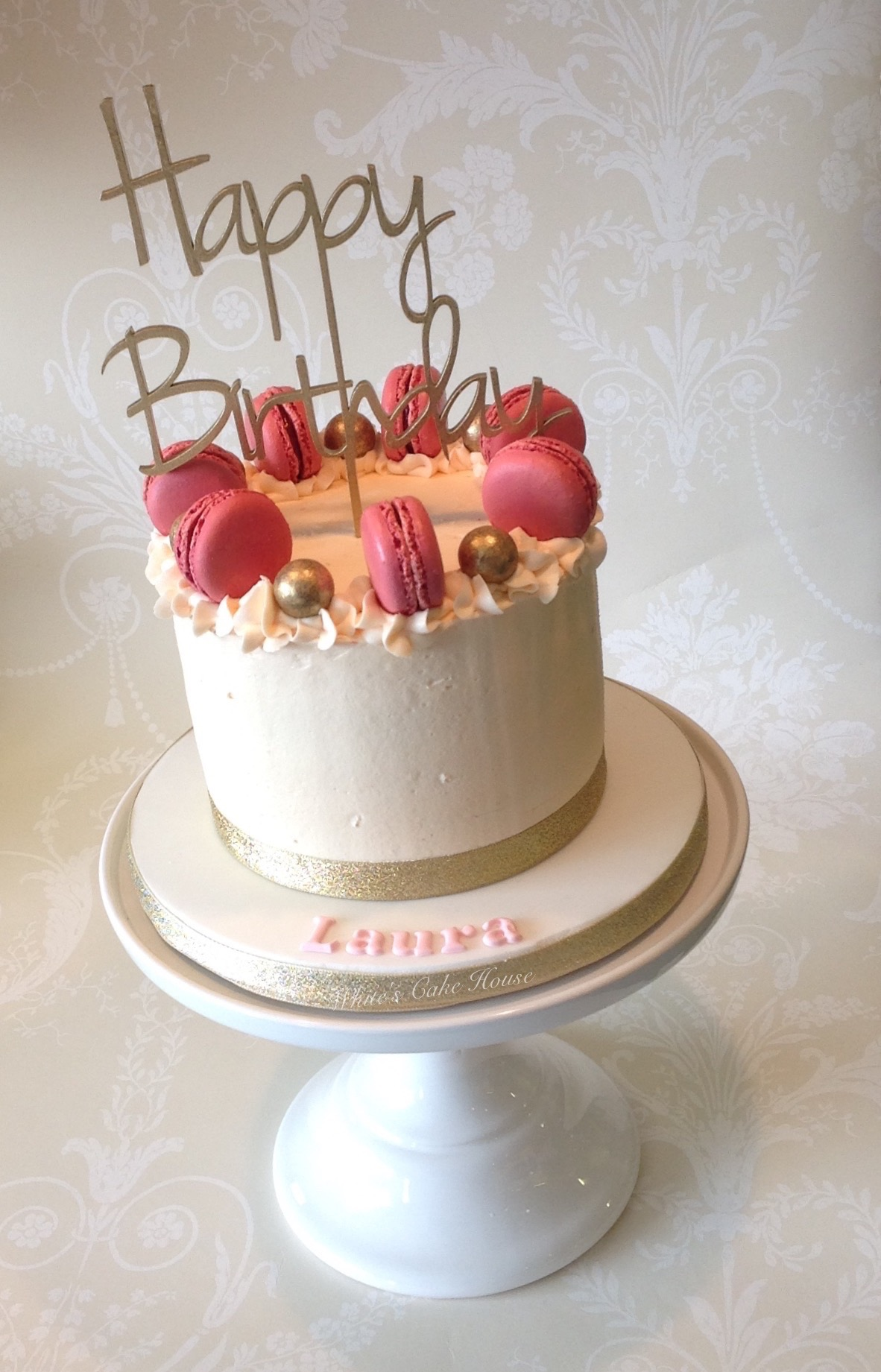 Pink Macarons Birthday Cake