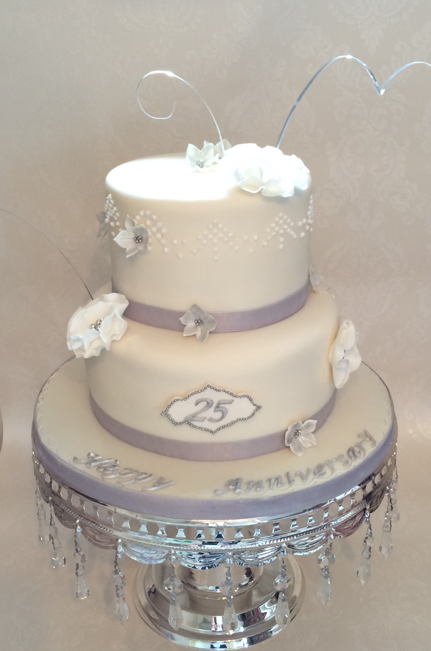 Purple White And Silver Wedding Cakes